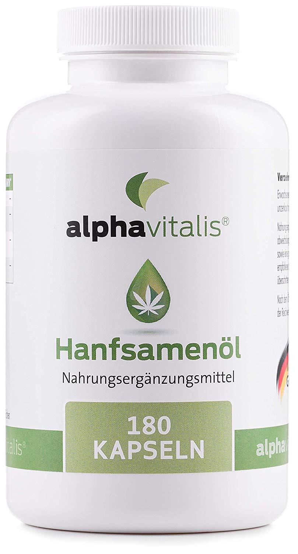Omega 3-6-9 Öl Kapseln aus Hanföl -180 Softgelkapseln – hochdosierte 1000 mg Hanfsamenöl je Kapsel (kaltgepresst)