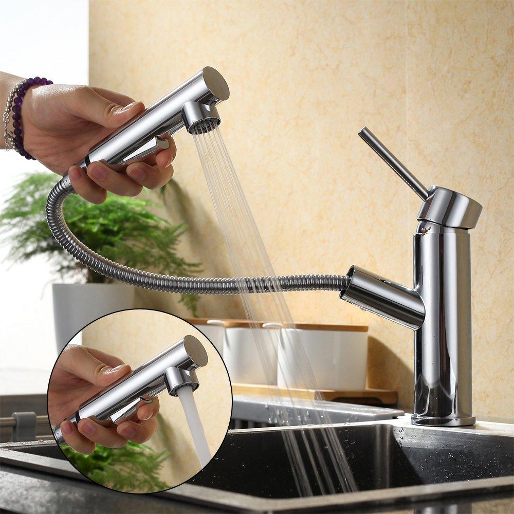 Homelody Küchenarmatur ausziehbar Armatur Küche Messing Spültischarmatur