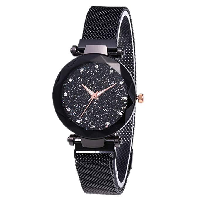 80% off Souarts Damen Armbanduhr Frauen Analog Quarzuhr Mesh Magnet Metallarmband Sternhimmel Muster Zifferblatt Uhren