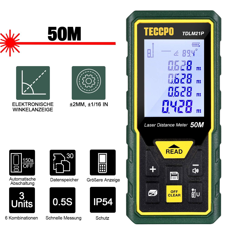 Laser Entfernungsmesser Distanzmessgerät 50m TECCPO Elektronischer Winkelsensor