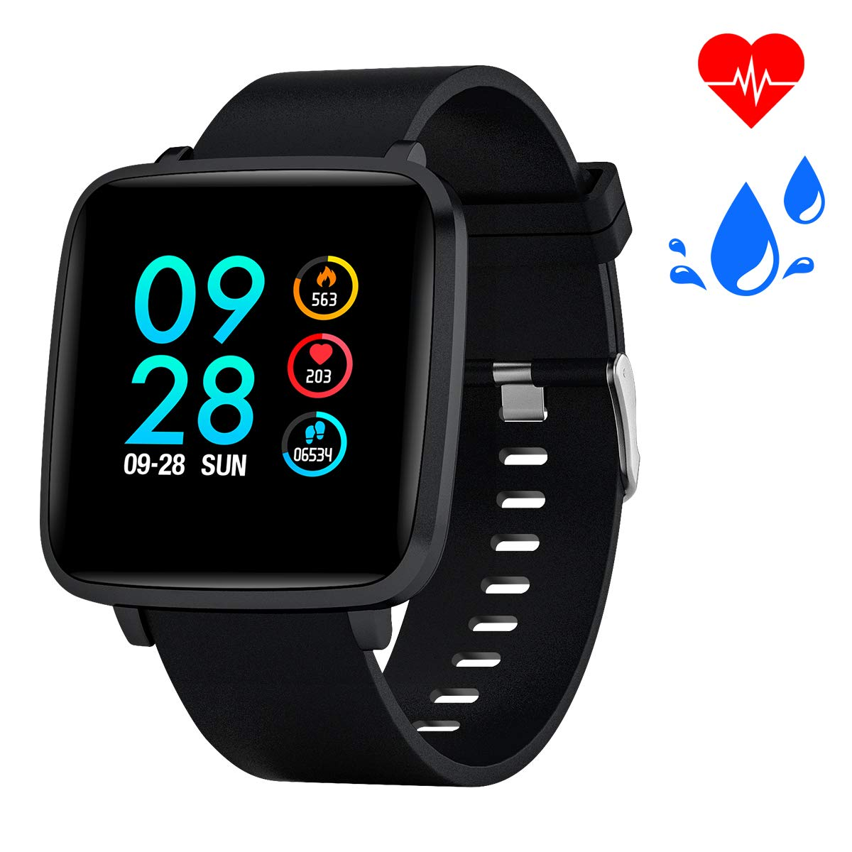 Bebinca Smartwatch,Fitness Armbanduhr Voller Touchscreen Fitness Uhr IP68 Wasserdicht Fitness Tracker Sportuhr