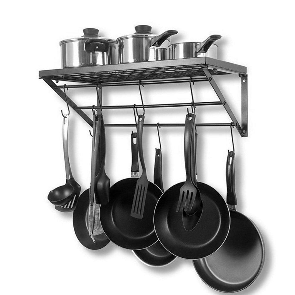 Greensen Küche Regale Metall Küchen Wandregal Schwarze Pfannenhalter Wand Regal Küchenablage