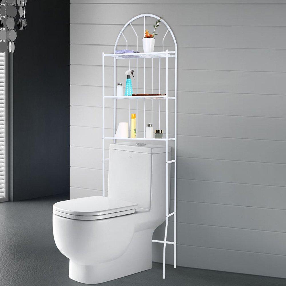 Greensen Toilettenregal 3-Tier WC-Regal Weiß Badablage Lagerregal