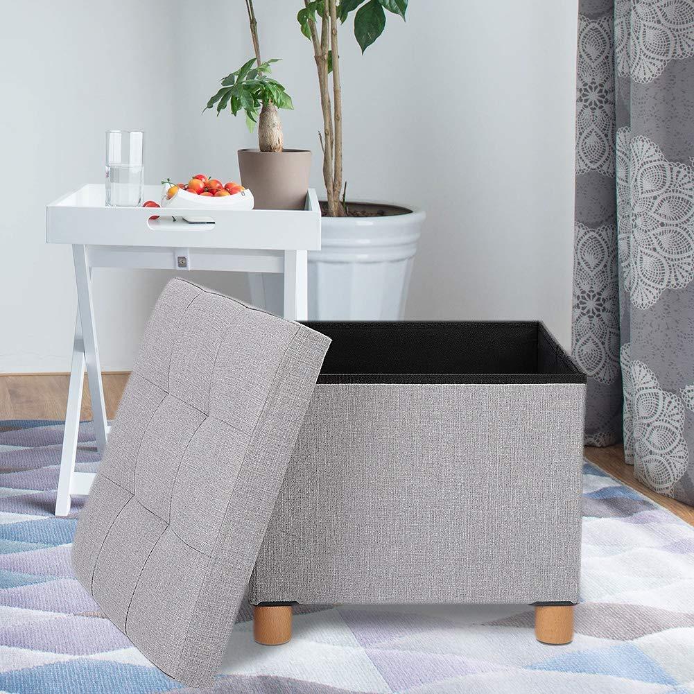 Greensen Sitzhocker mit Stauraum Sitzbank Abnehmbarer Deckel Sitzwürfel Fußhocker