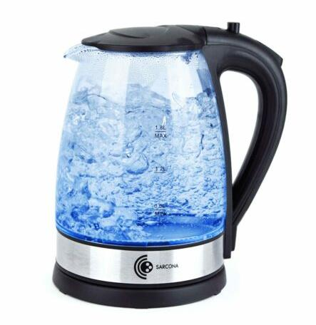 Wasserkocher Glas Edelstahl LED 1,8 Liter 2200 W kabellos kalkfilter Teekocher