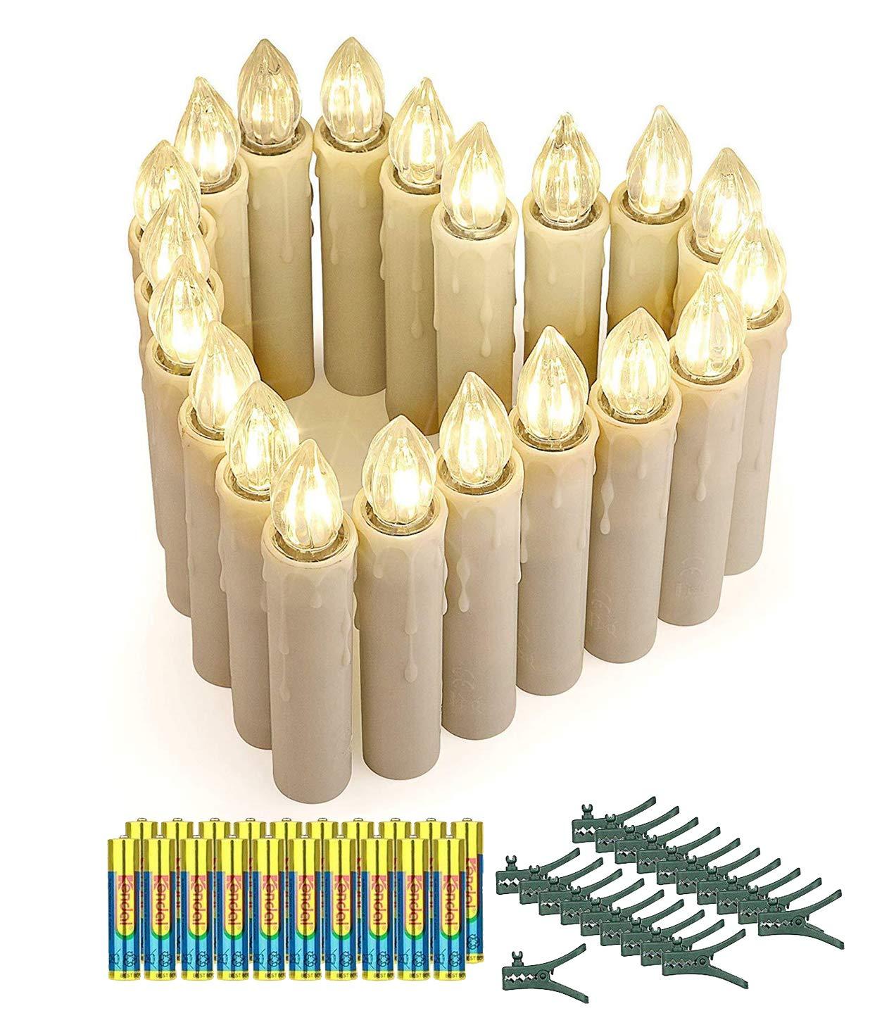 20er LED Kerzen mit Batterien, Timer und Fernbedienung, IP64 Dimmbar Kerzenlichter Flammenlose Weihnachtskerzen
