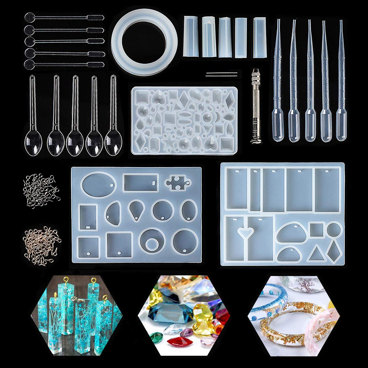 Jeteven Gießform Silikonform Kit Resin Mold Harz Form für Schmuckherstellung