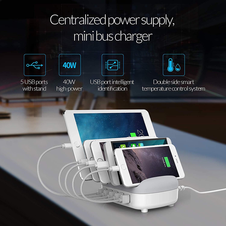ORICO 40W 5 Anschlüsse USB Smart Ladestation mit 5 Kabel