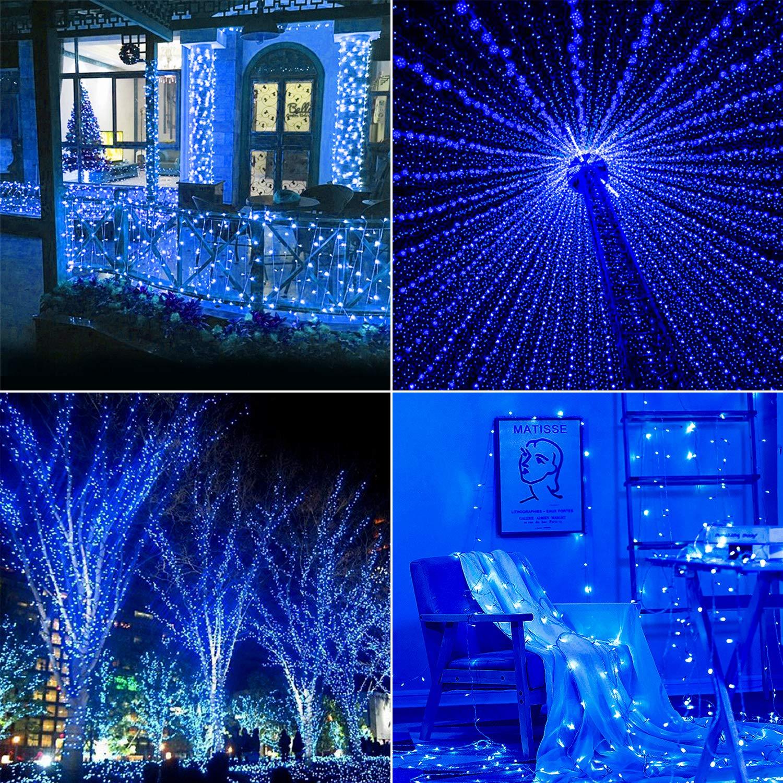Hengda LED Lichterkette 20M Blau mit 8 Leuchtmodi Außenlichterkette