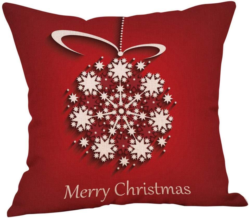 HEVÜY Weihnachtsschneeflocke Kissenbezug Frohe Weihnachten Dekorative