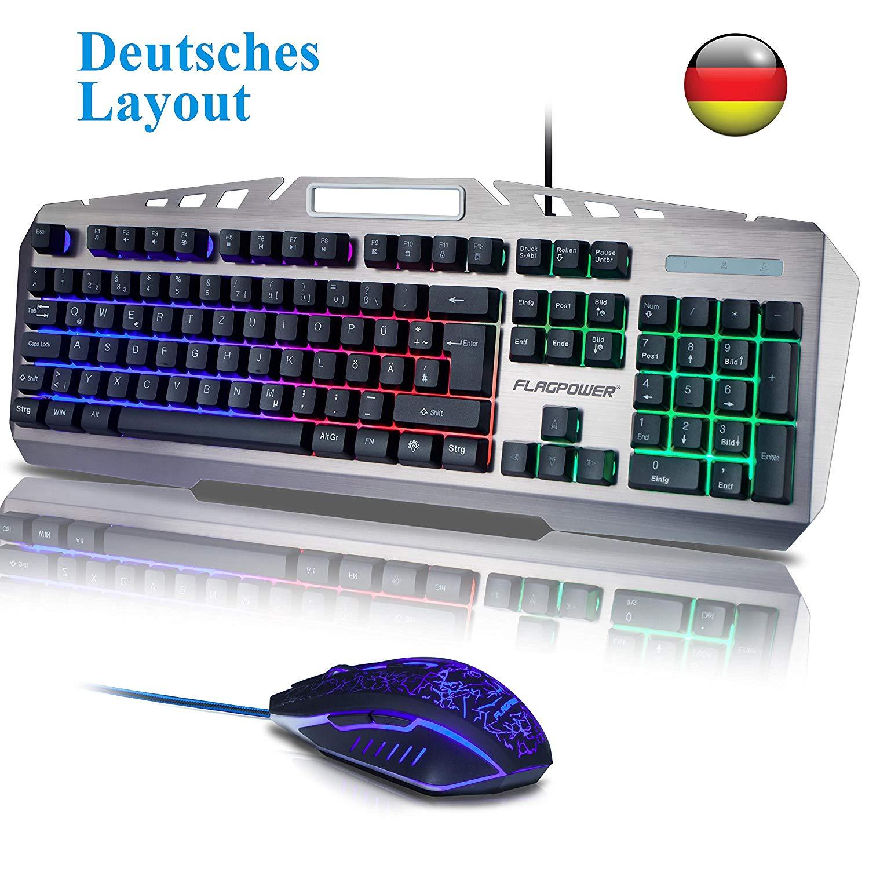 FLAGPOWER Gaming Tastatur und Maus Set, USB Beleuchtete Gaming Tastatur