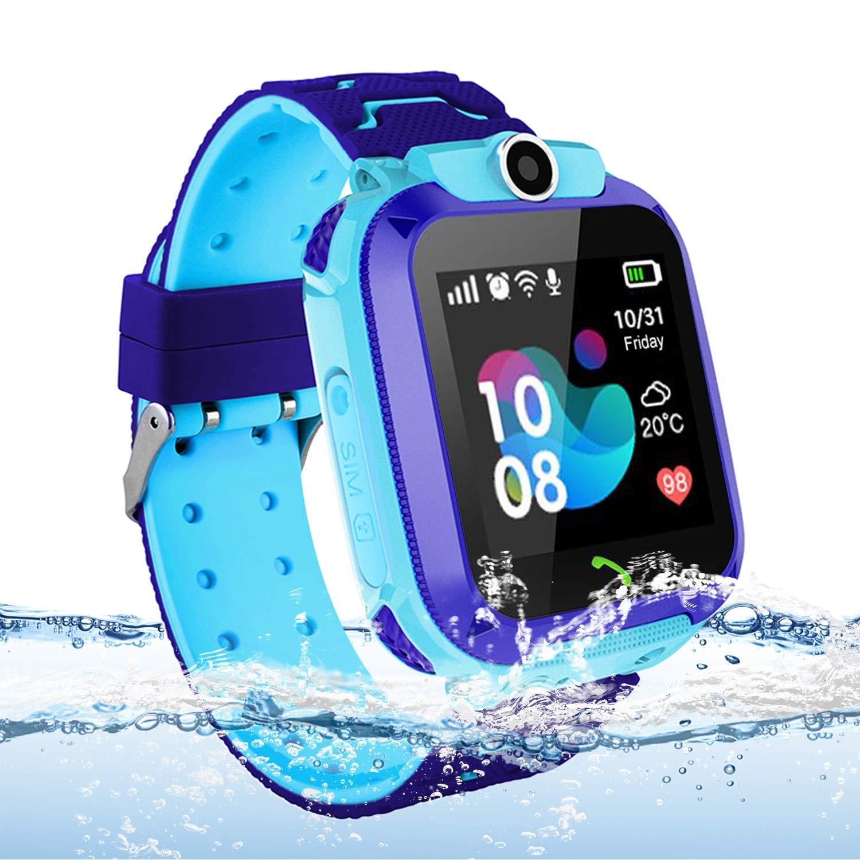 Kinder Smartwatch wasserdicht, Micoke Touchscreen Mobile Smartwatch für Mädchen Jungen, SOS Call SIM-Karte Smartwatch mit Kamera
