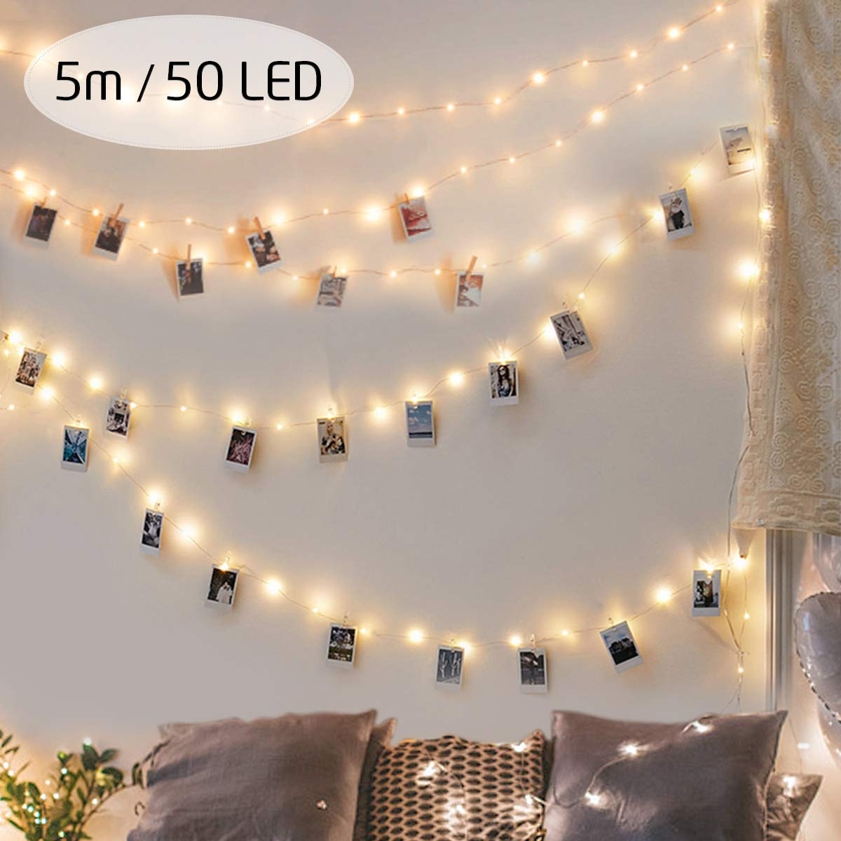 king do way LED Fotoclips Lichterkette für Zimmer Deko, 5M LED Foto Clip Lichterkette