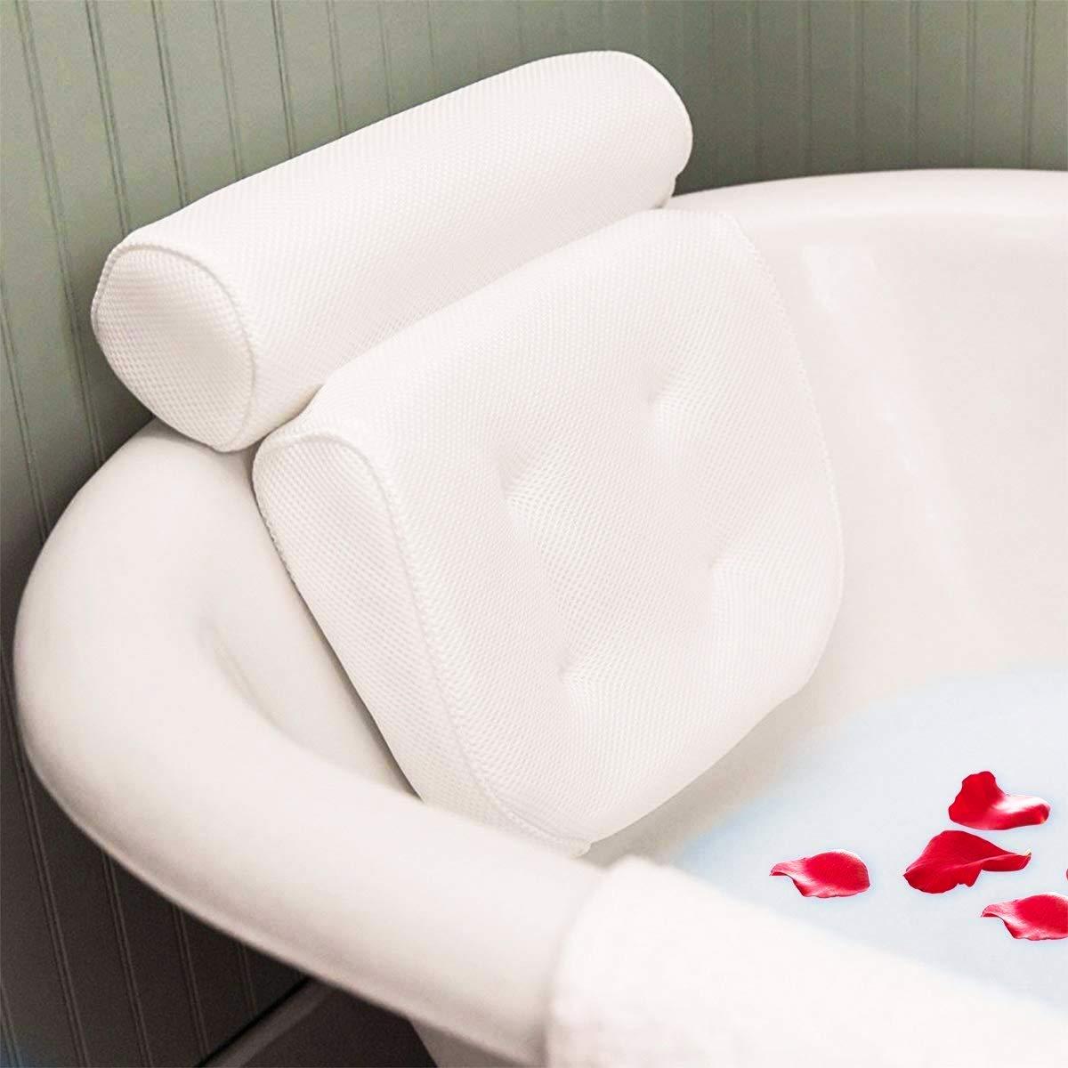 Essort Badewannenkissen,Komfort badewanne kopfkissen mit Saugnäpfen, badewanne nackenpolste