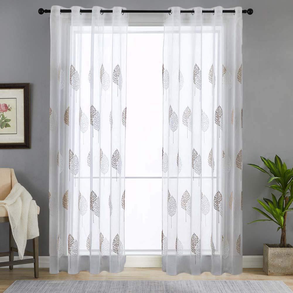 Souarts Stickerei Gardine Vorhang mit Schlaufen Transparent Schlaufenschal für