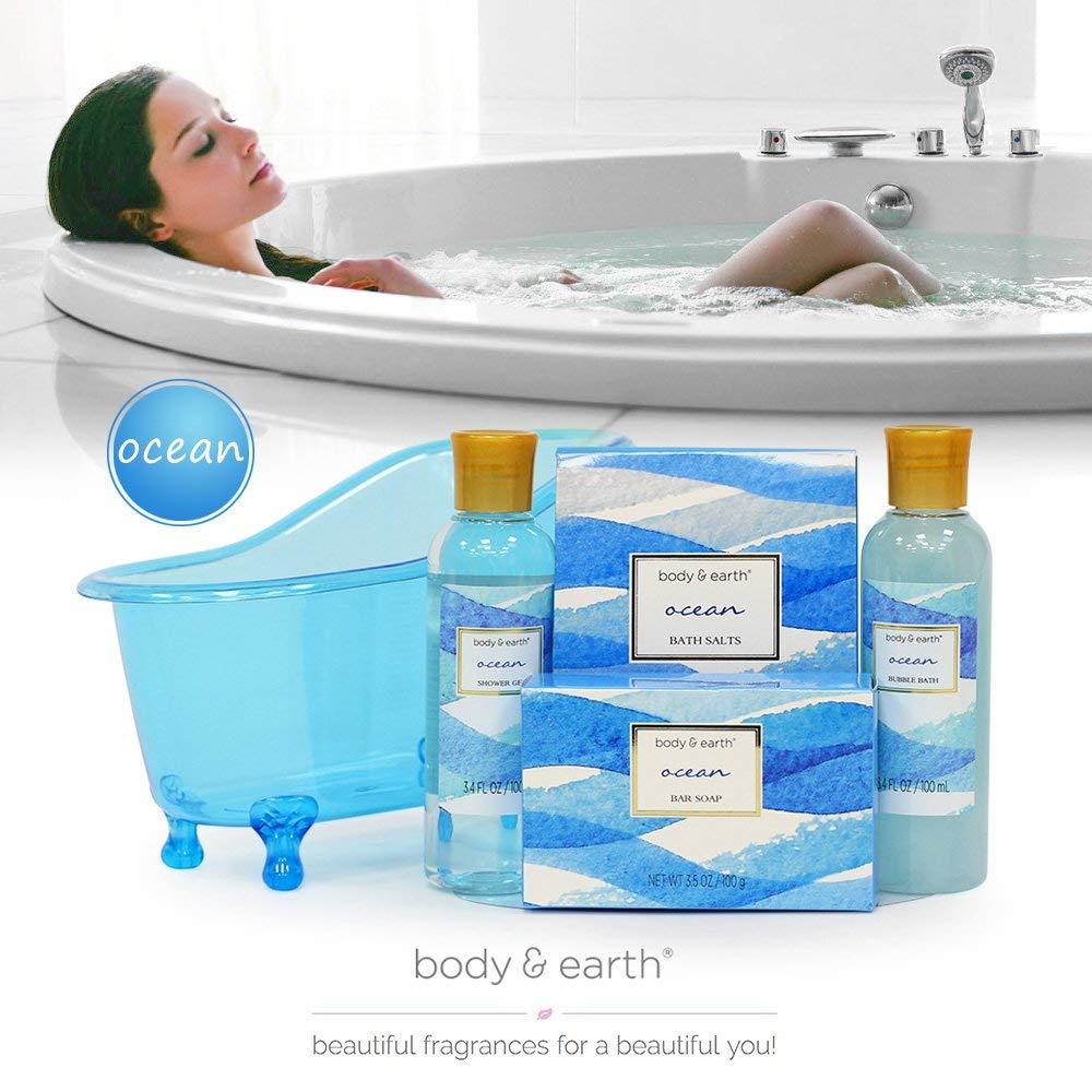 Body&Earth Spa-Kit für Frauen 5 Pcs Ozean Duft Badesets mit Duschgel