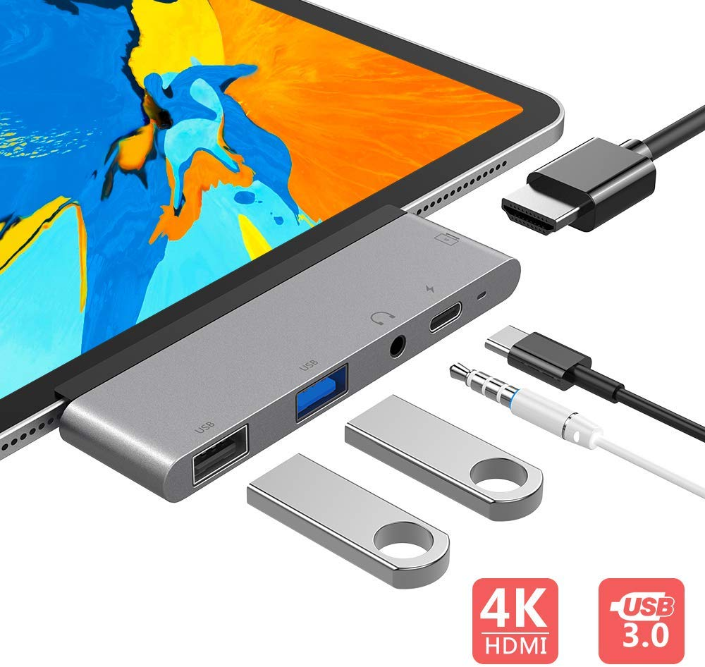 FLYLAND USB C Hub, 5 in 1 USB C to 4K HDMI Adapter with USB3.0, USB2.0, 3.5mm Headphone Jack, PD Charging, HDMI Converter