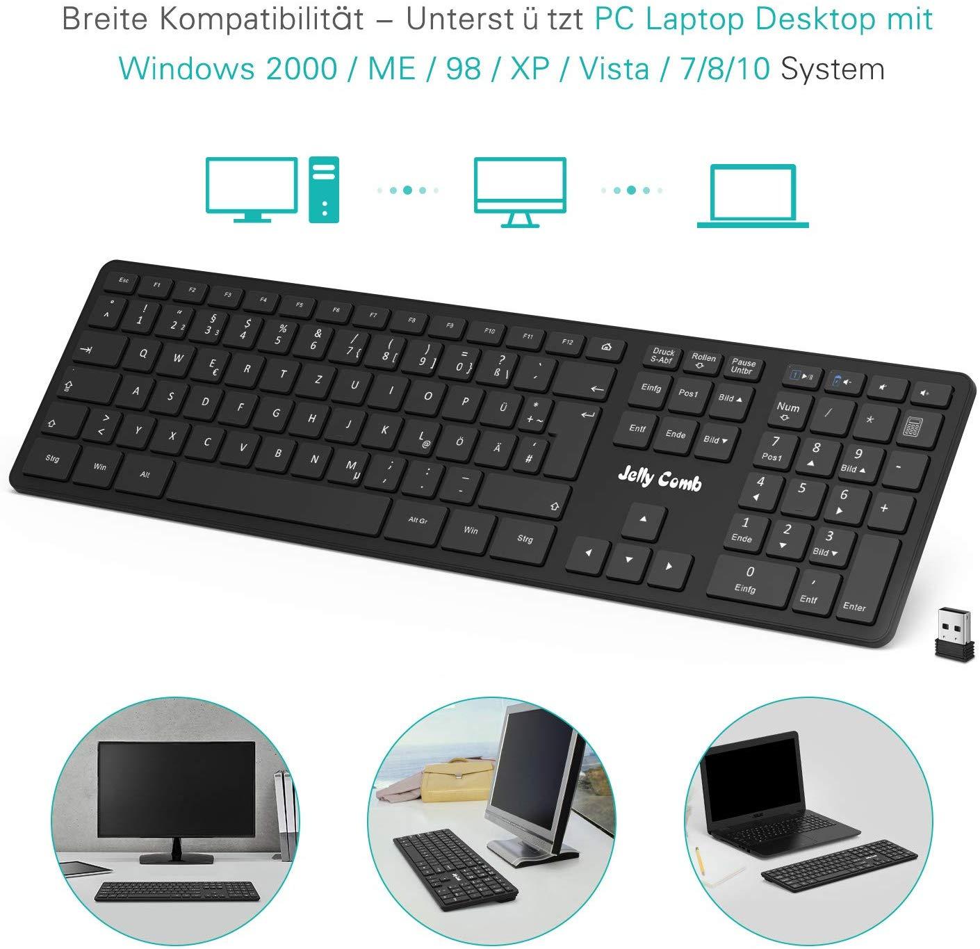 Jelly Comb Funktastatur, 2.4G Tastatur kabellos Full-Size Ultra-dünn Wireless Tastatur