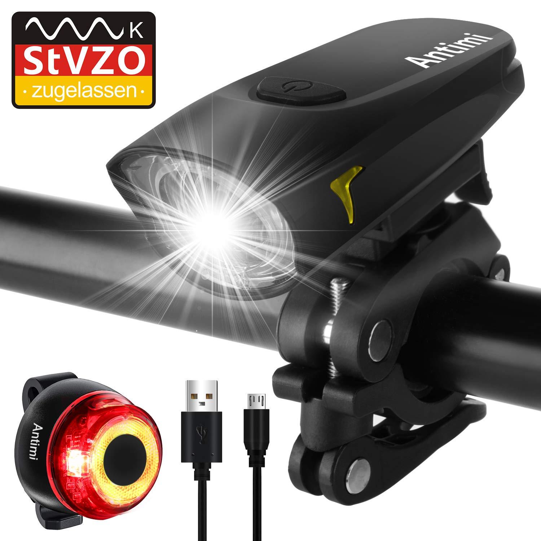 Antimi Sport Fahrradbeleuchtung LED Set, StVZO USB Wiederaufladbare Fahrradlicht Set