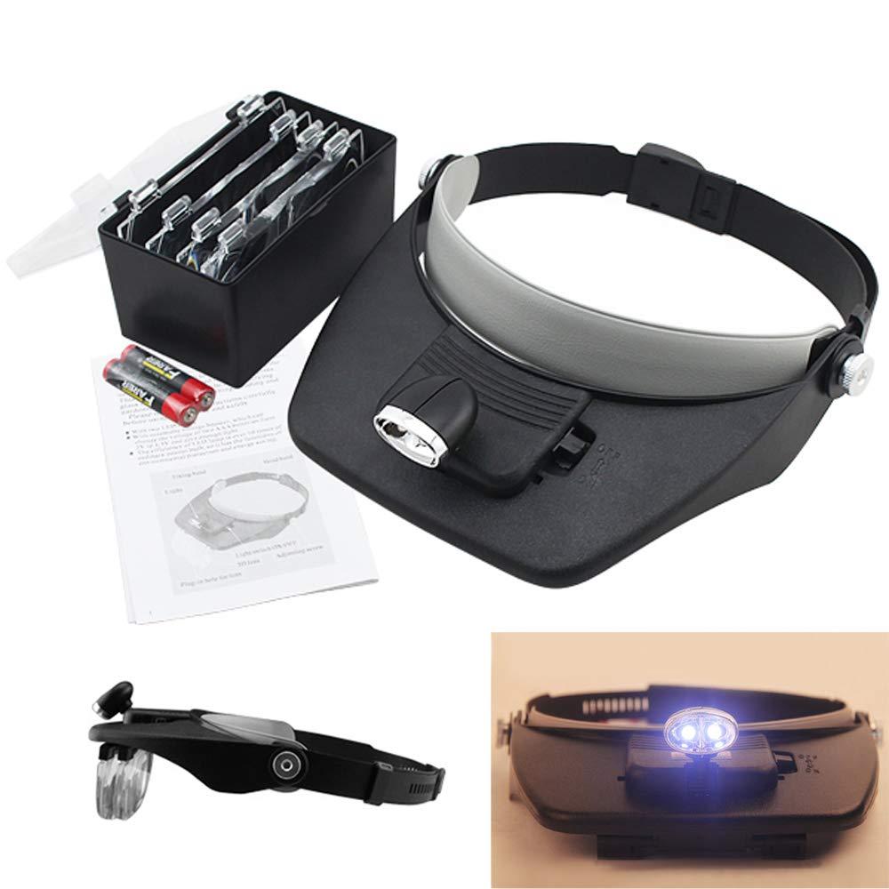 Hengda Lupenbrille mit Licht Kopfband Lupen Hände Frei Standlupe mit LED Brillenlupe