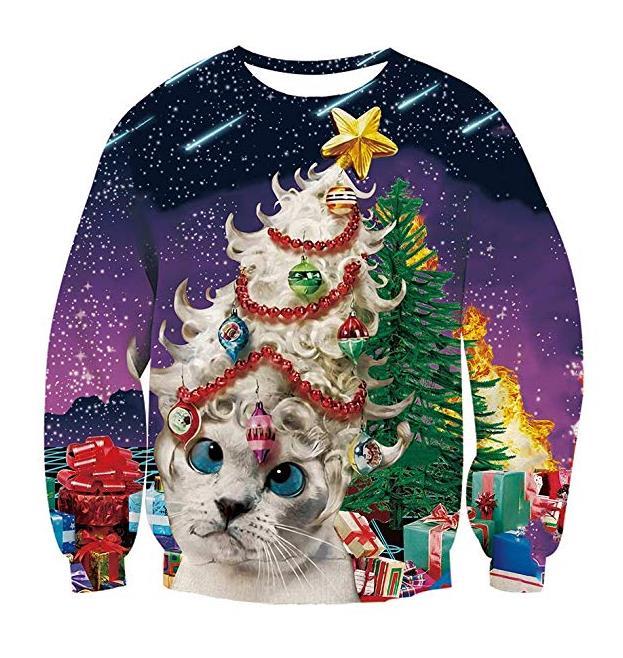RAISEVERN Weihnachten Pullover Jumper, Herren Damen Unisex Lustige Sweatshirts