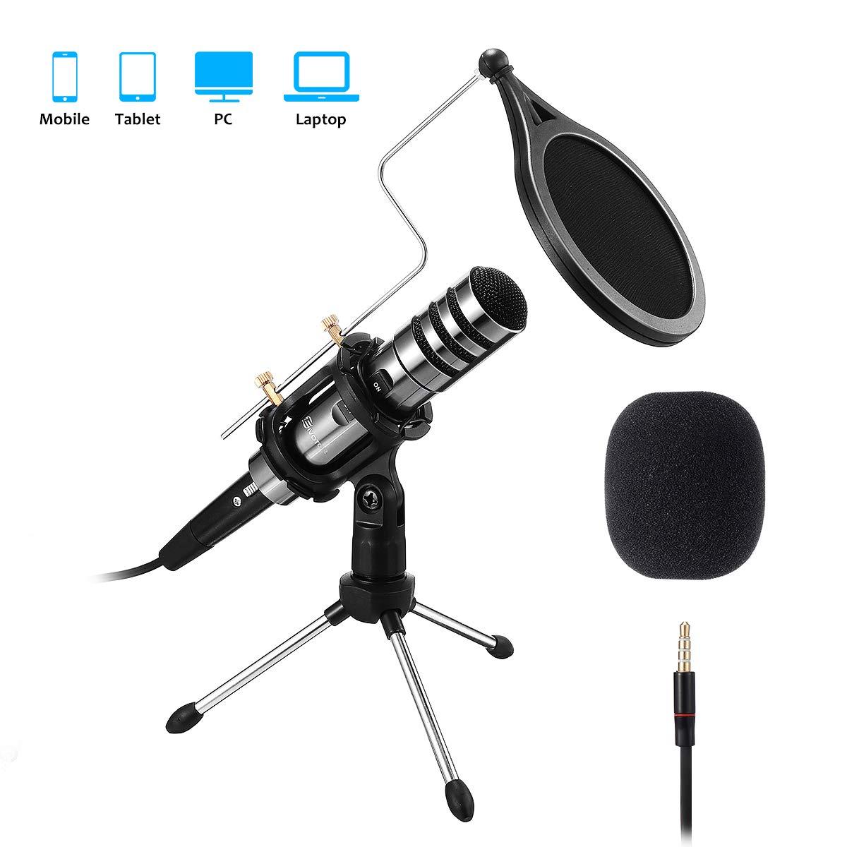 EIVOTOR Aufnahme Mikrofon für Handy und PC 3,5mm Klinke