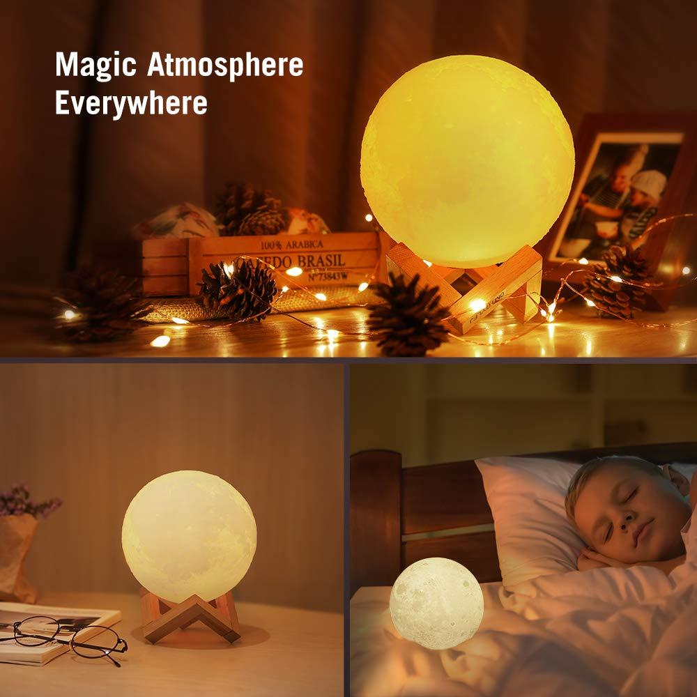 TaoTronics Mond Lampe 3D-gedruckte Mondlicht 8 cm, Nachttischlampe, Nachtlicht