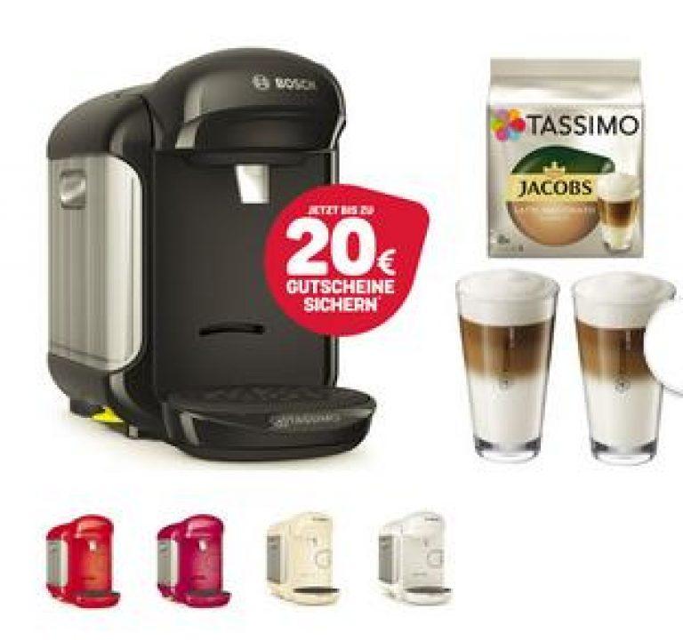 TASSIMO Vivy 2 + 20 EUR Gutscheine* + LM Gläser + TDisc Kapseln Latte Macchiato Creme