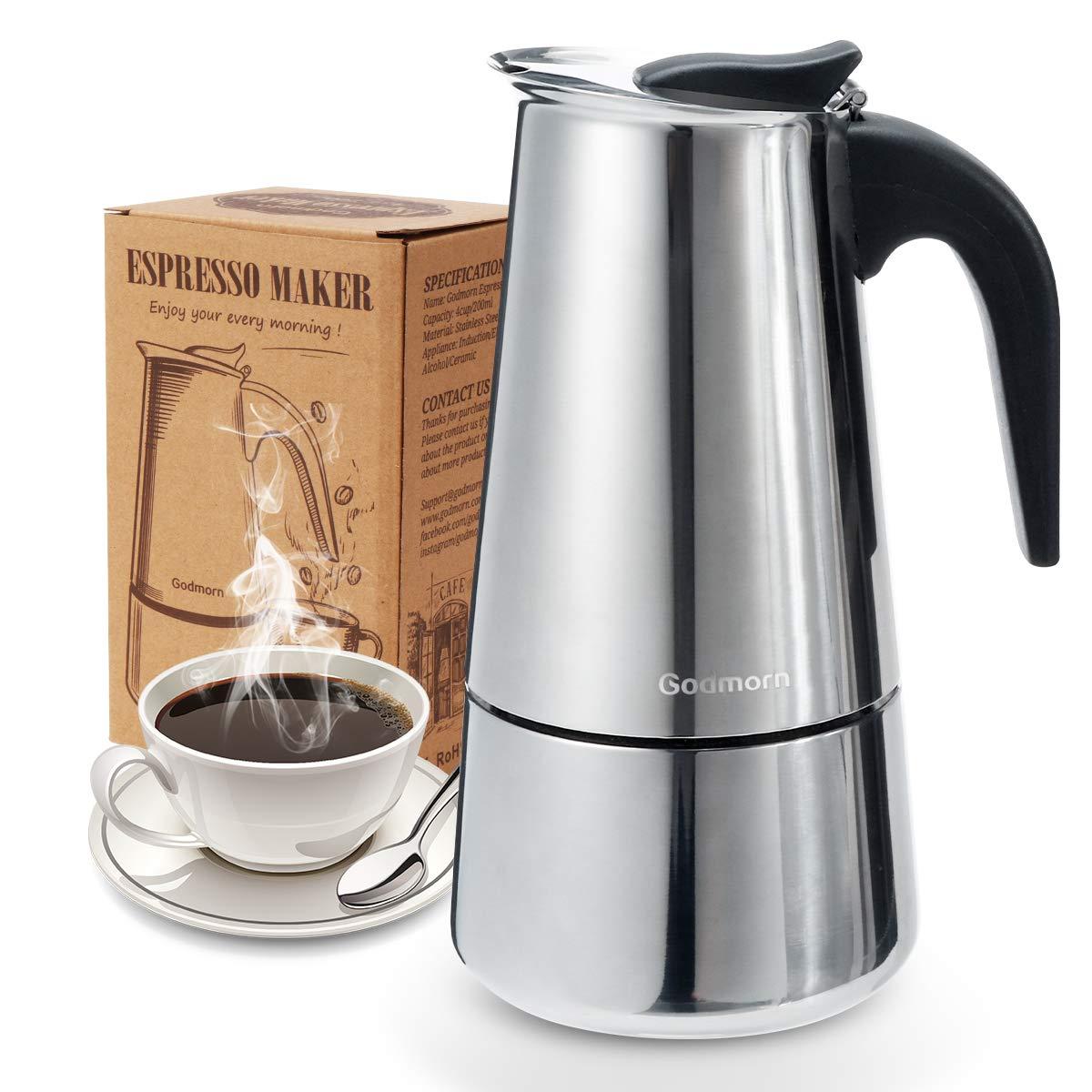 Godmorn Espressokocher, Kaffeekocher, Mokkakanne aus 430 Edelstahl