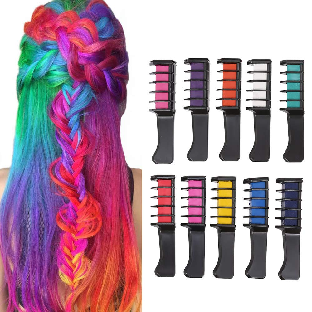 Haarkreide Kamm 10 Stück, Anself Haarfarbe Kamm für Mädchen