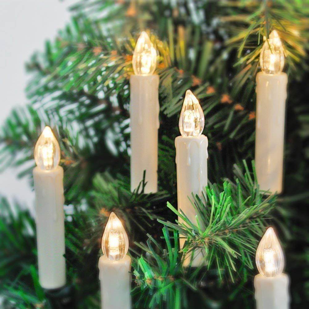 20er LED Kerzen mit Batterien, Fernbedienung und Timer, IP64 Dimmbar Kerzenlichter Flammenlose Weihnachtskerzen