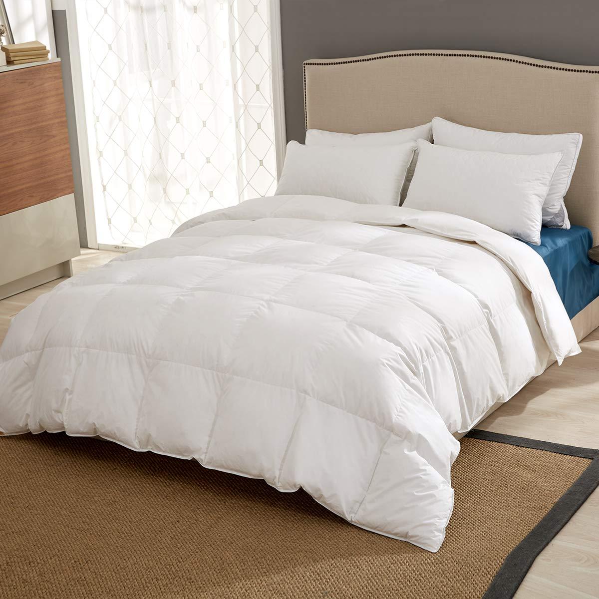 Puredown Bettdecke, weiße Gänsedaunen, Steppbett, Feder und Daunen, Wärmestufe 4, weiß, baumwolle, weiß, King Size