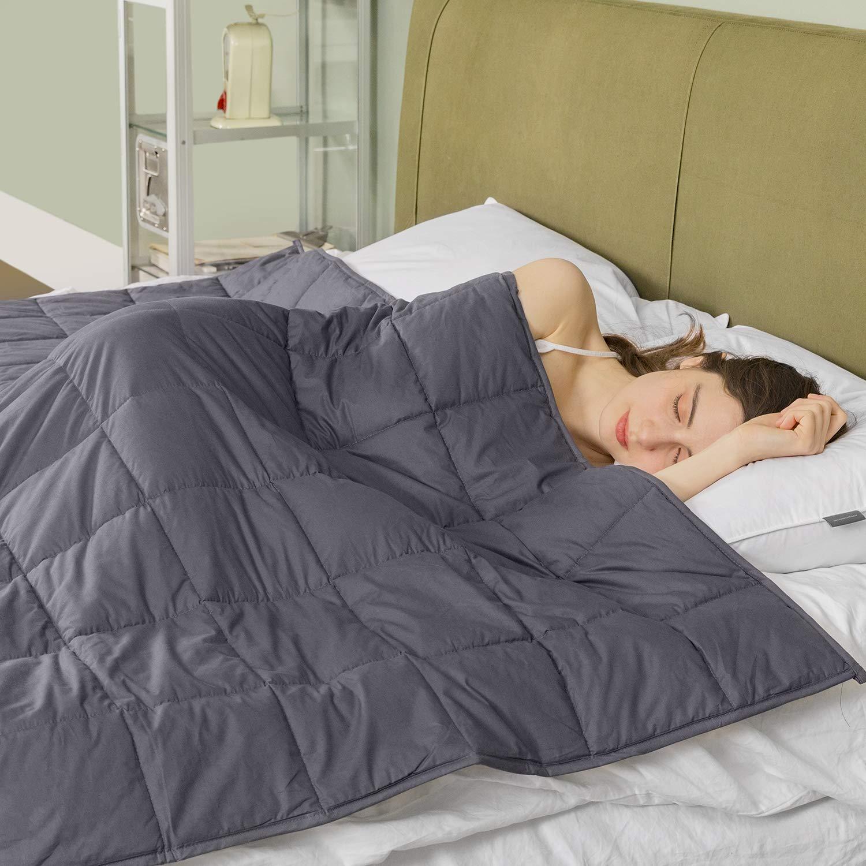 Gewichtete Decke für gut Einschlafen, 6.8kg für 57-76kg Person,100% Baumwolle 120x180cm Dunkelgrau