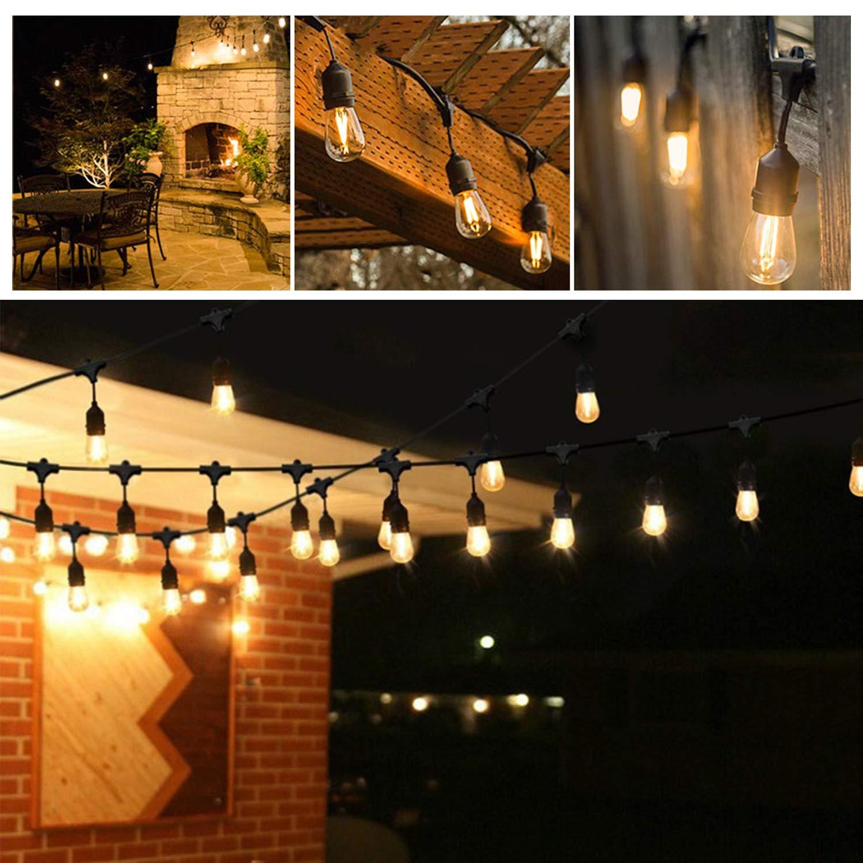 VINGO LED Lichterkette Außen Warmweiß IP65 Wasserdicht Lichterkette Glühbirne 15M LED Birnen Lichterkette