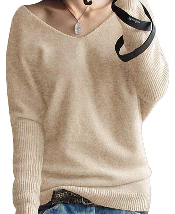 PHELEAD Damen 100% Merinowolle Winterpullover Damen V-Ausschnitt Loose