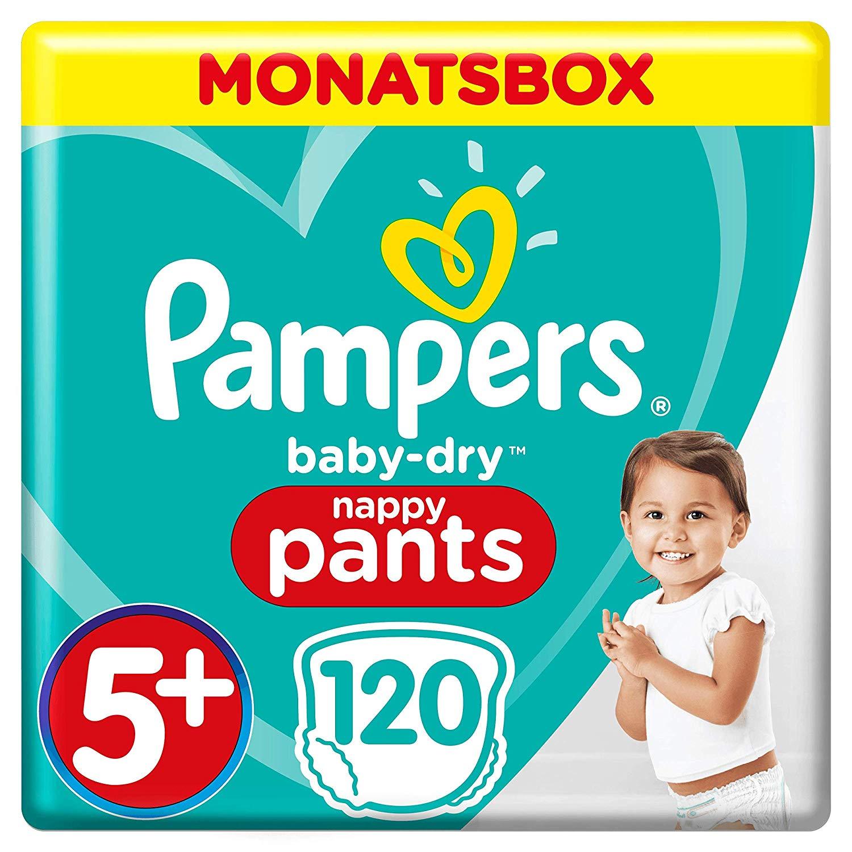 Pampers Baby-Dry Pants, Gr. 5+, 12-17kg, Monatsbox, 1er Pack (1 x 120 Windeln)