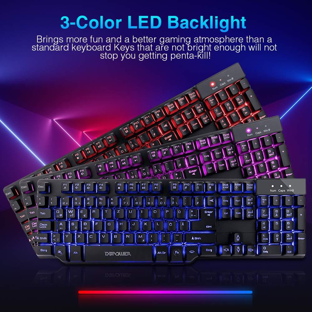 DBPOWER Gaming Tastatur, USB Tastatur