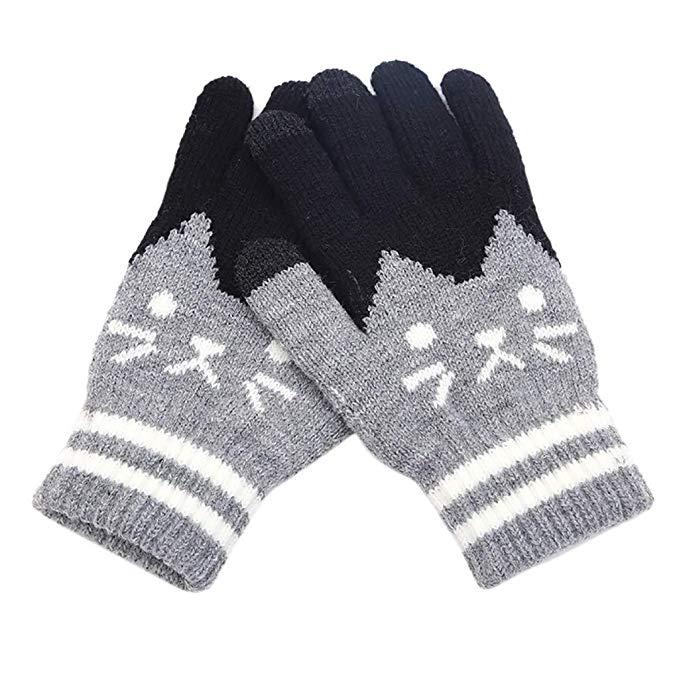 80% off Gestrickte Fäustlinge Freizeit Streifenmuster Fleece Innenfutter Fäustlinge Winter Casual Sport Handschuhe