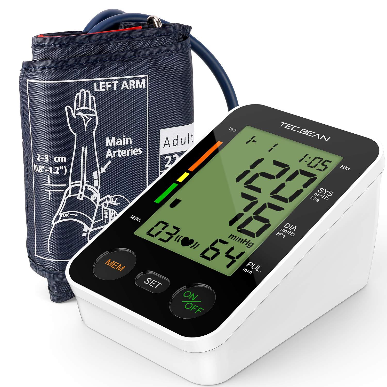 TEC.BEAN Digitales Oberarm Blutdruckmessgerät mit Herzfrequenz-Erkennung und Speicher