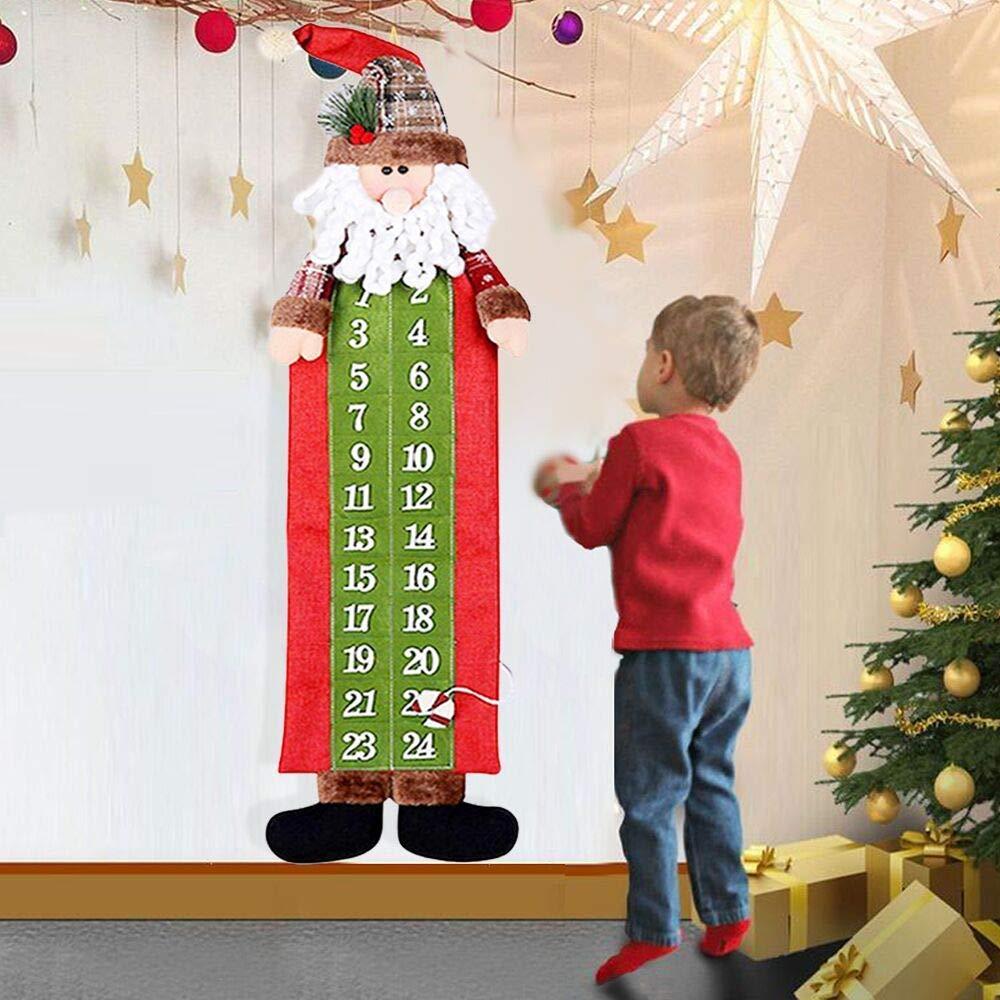 vercico Adventskalender zum Befüllen Schneemann Weihnachtsmann zu Weihnachten DIY Filz Deko Kalender 24 Säckchen Selbstbefüllen