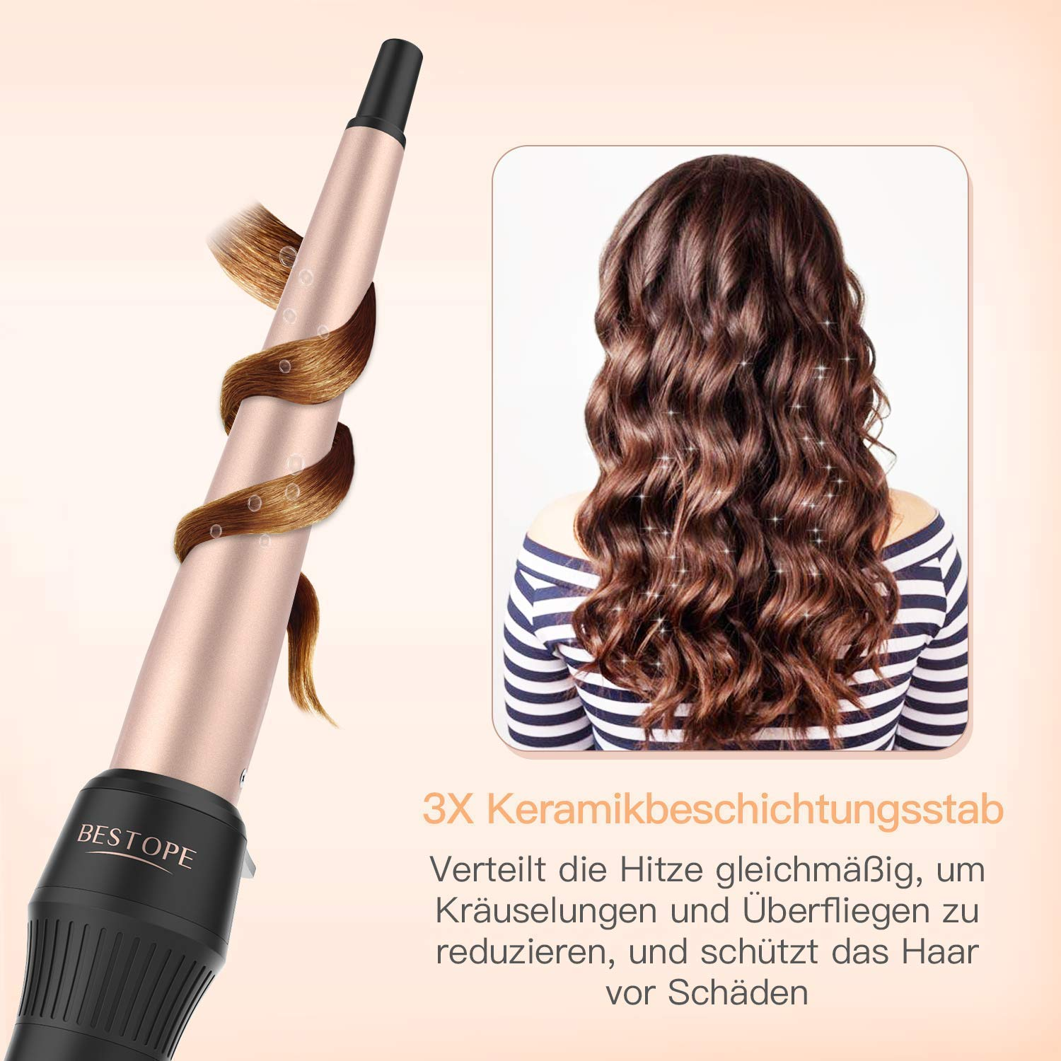 BESTOPE Lockenstab Curling Iron 160° C-220° C Temperatureinstellung Turmalin