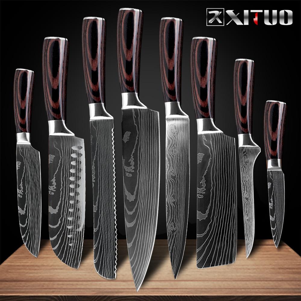 "XITUO 8 ""zoll japanischen küche messer Laser Damaskus muster kochmesser"