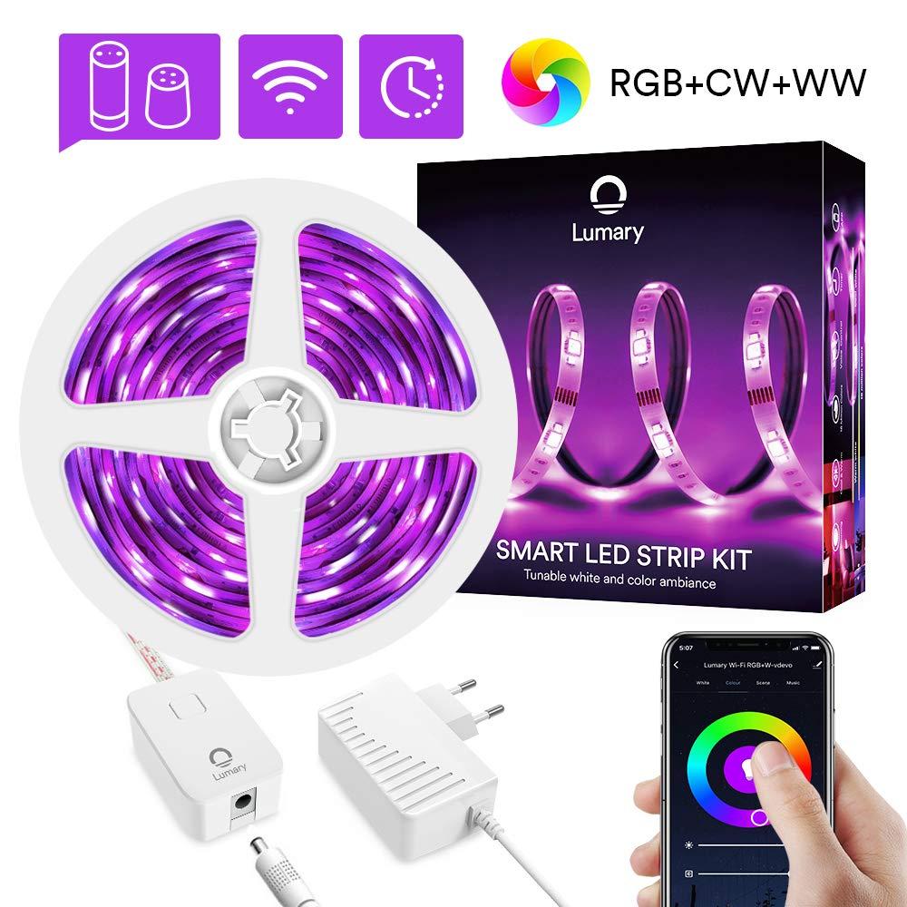 Smart LED Streifen 3M Alexa, Lumary RGBWW WiFi LED Stripes Heller RGB Dimmbar