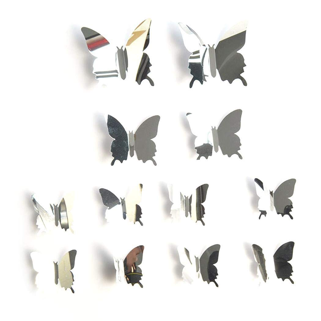 80% off 12 PCS 3D Spiegel Simulation Schmetterling Form Wandaufkleber Dekoration Tapeten