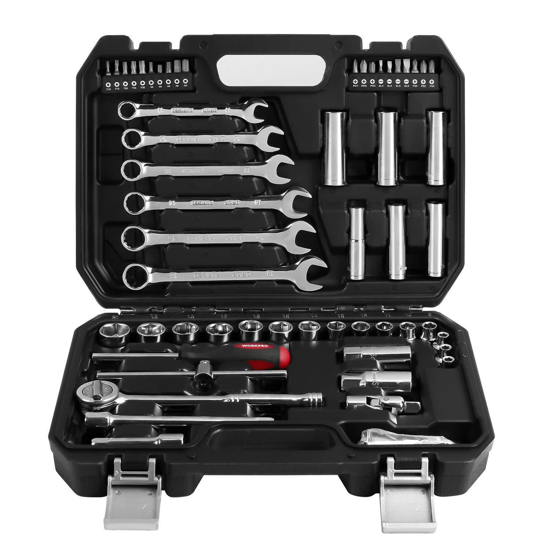 WORKPRO Steckschlüsselsatz Bits Umschaltknarren 3/8″ 64 tlg. mit Werkzeug-Kasten