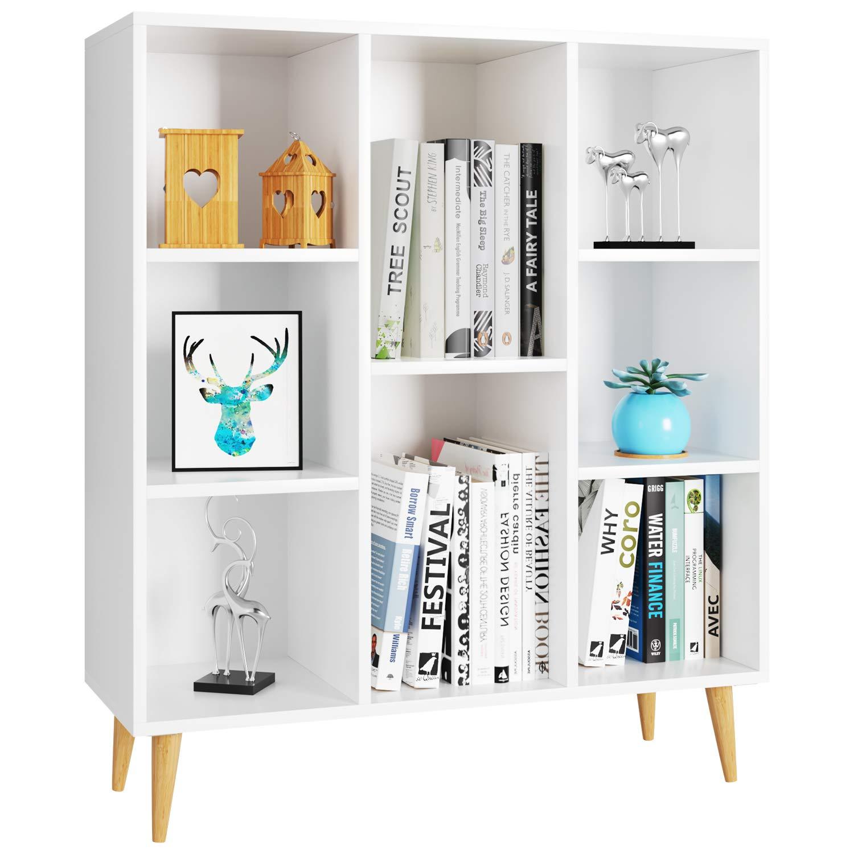 Homfa Bücherregal, Regal mit 8 Fächer, Standregal Schrank Raumteiler Kinderregal 80×29.5x93cm weiß