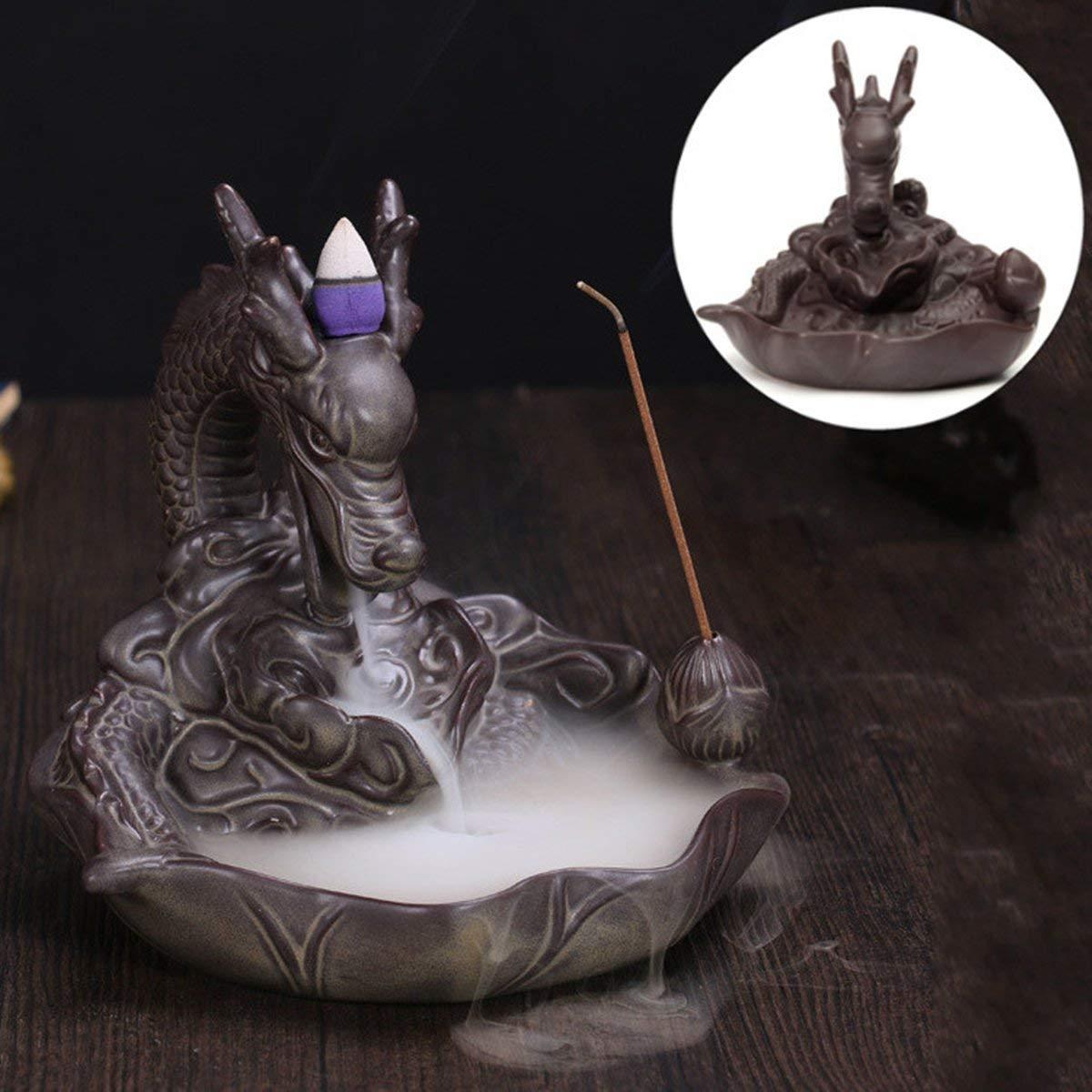 KING DO WAY Rückfluss Räuchergefäß Räucherstäbchenhalter Dragon Keramik Luftbefeuchter