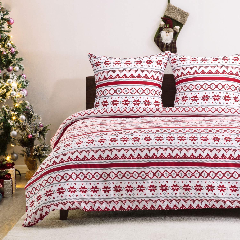 Bedsure Weihnachtsbettwäsche 135×200 cm Microfaser Bettbezug Set