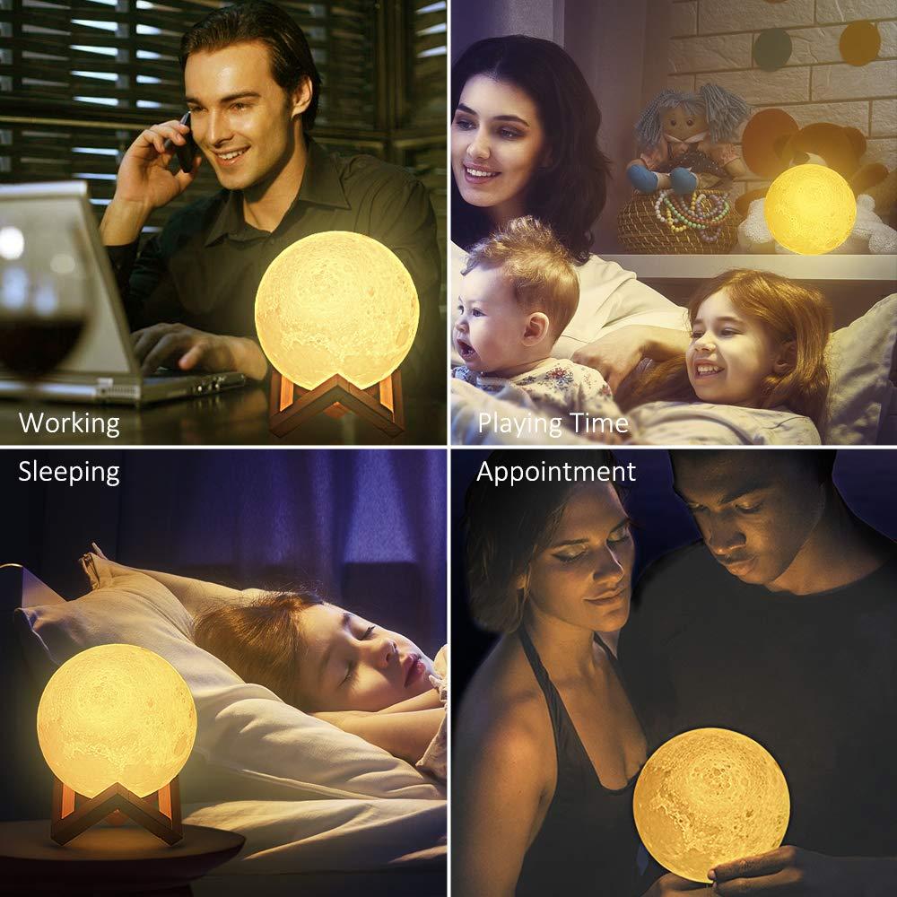 Mond Lampe Touch LED Nachtlicht, Tomshine 3D 15cm Mondlampe 16 Farbe Dimmbar