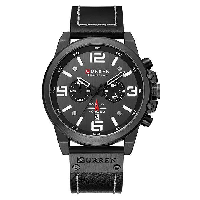 Curren Herren Uhren, Casual Chronograph Quartzuhr, Multifunktionale Militär Sport Armbanduhr